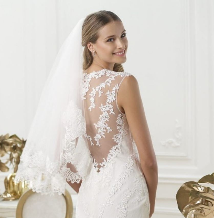 Wedding Dress With Beading Decoration Low Back See Through Gowns On Luulla